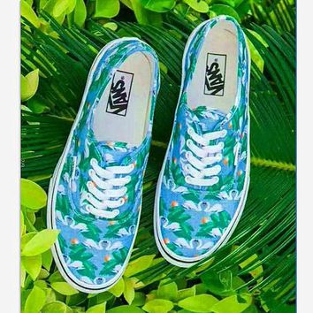 Vans Chambray Casual Sports Sneakers Shoes green leaf print B-CSXY