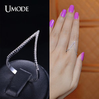 Cubic Zirconia Stacking Ring Chevron Ring Cubic Zirconia V Ring Statement Ring Long Finger Ring Silver Ring Micro Pave Ring