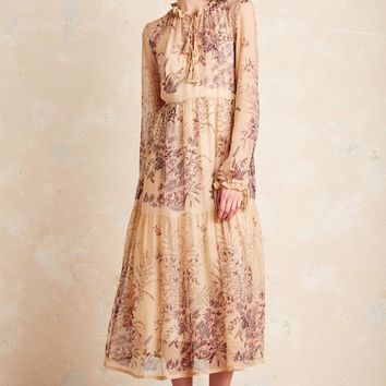 Prairie Blooms Silk Dress, Neutral