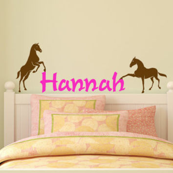 Horse decal personalized sticker girls room pony decor vinyl wall mustang decoration, 12 X 36 inches