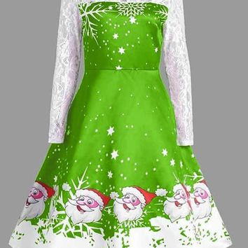 Green Patchwork Lace Flowers Print Round Neck Long Sleeve Christmas Party Midi Dress