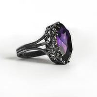 Silver Engagement Ring with Purple Swarovski Crystal
