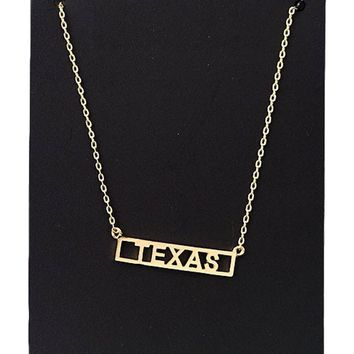 Texas Bar Framed NeckLace, Gold