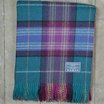 Heritage Merino Blanket in Purple and Turquoise Check