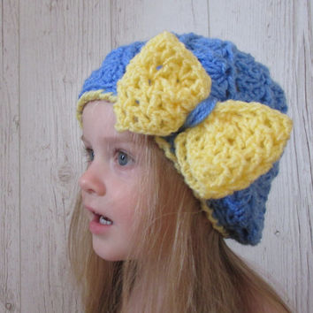 Girl Hat Pattern, Crochet Pattern Hat, Toddler Bow Hat, Baby Hat Pattern, Big Bow Baby Hta, Child Hat, Girl Beanie, Spiral Baby Hat