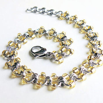 Stainless Steel Beaded Anklet - Gold Beaded Chainmaille Anklet