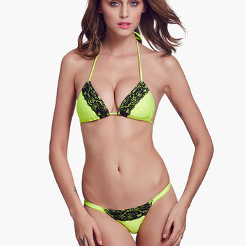 Green with Lace Accent Triangle Bikini