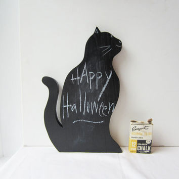Black Cat Halloween Decor - Black Chalkboard Cat Silhouette -  Altered Vintage