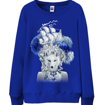レディーススウェット【キツネ・猫・船】| Women Sweatshirt - Snow Fox with Epic Ship on Pouf Hair