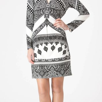 Black & White Printed Jersey Dress
