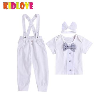 Kidlove 3 Pcs/Set Baby Boy Clothing Set Short Sleeve T-shirt + Gentleman Bow Tie + Suspender Trousers White Outfits ZK30
