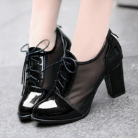 Chic Womens Fashion Block Heel Lace Ups Patent Leather Mesh Summer Casual Shoes