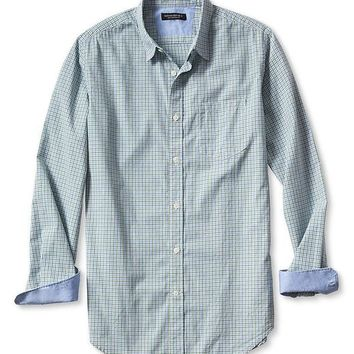 Slim Fit Soft Wash Micro Gingham Shirt