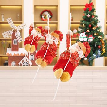 Cute Doll Climb Rope Santa Claus Ornaments Christmas Tree New Year's Decorations