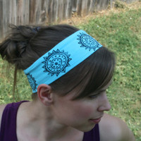 Funky Flowers Headband - FREE SHIPPING -- Wide Hair Accessory --  hot yoga headband, Yoga, Hippie, Boho, Retro, hair band, head scarf