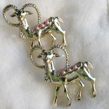 Pair of 1960's Vintage Aries the RAM Astrology Scatter Pins - MINT In Box!