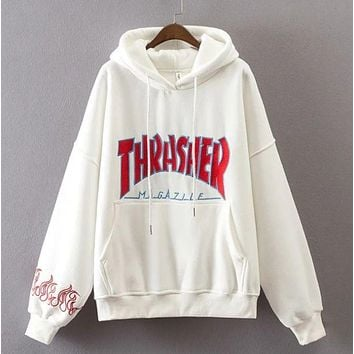 """""""Thrasher"""" men and women fashion letters hooded pullover F"""