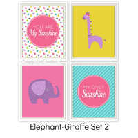 "Elephant And Giraffe Prints - You are my sunshine my only sunshine Quote // Set of four 8""x10""s // Nursery Wall Art // Girls Room Decor"