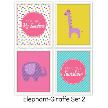 """Elephant And Giraffe Prints - You are my sunshine my only sunshine Quote // Set of four 8""""x10""""s // Nursery Wall Art // Girls Room Decor"""