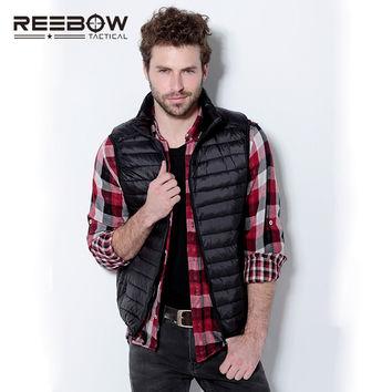 REEBOW TACTICAL Men Outdoor Hiking White Duck Down Vest Autumn Spring Sports Sleeveless Waistcoat Travel Portable Ultra Light