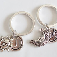 Initial keychain, Moon and sun keychains, Personalized keychains, set of 2 keychains, best friends, sisters, boyfrind girlfriend Gift