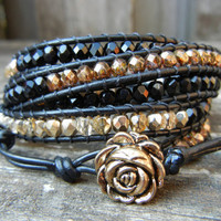 Beaded Leather 5 Wrap Bracelet with Black Gold and Copper Polished Czech Glass Beads on Black Leather