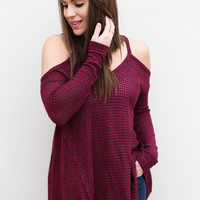 Cranberry Cold Shoulder Top