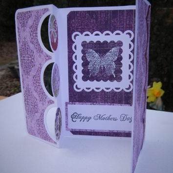 Handmade Mother's Day Card: Butterfly and Floral Design in Primarily Pink, Lavender and Purple, 3D Design