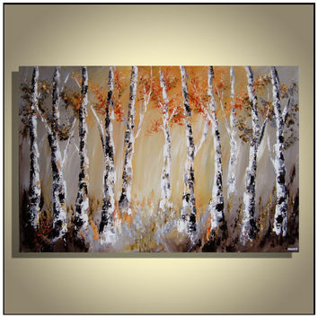 Original Modern Gray Orange Brown Birch Trees Abstract Landscape Forest Painting on Canvas 36'' x 24''