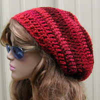 Mixed berries beanie, Red Tam Dread hat, Hippie Slouchy beanie, smaller Dreadlocks Crochet Beanie, woman beanie,