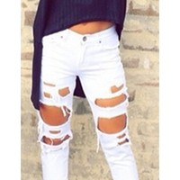 White Denim 5 Pocket Zip Button Destroyed Ripped Cropped Jeans