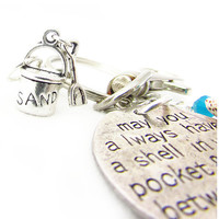 Sand Pail and Shell Keychain, Beach Inspired Keychain, Sand Between Your Toes Quote Keychain
