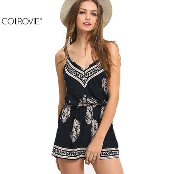 COLROVIE Sexy Sleeveless 2017 Summer Style New Beach Romper Women Jumpsuit Ladies Navy V-neck Paisley Print Rompers