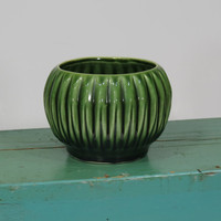Green Ribbed Flower Pot USA Pottery Vintage Mid Century Planter