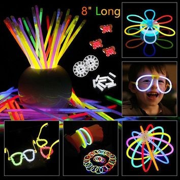 200pcs/set Colorful Glow In the Dark Fluorescence Glow stick Bracelets Necklaces Festival Xmas Party Neon Glowstick Kids Toy