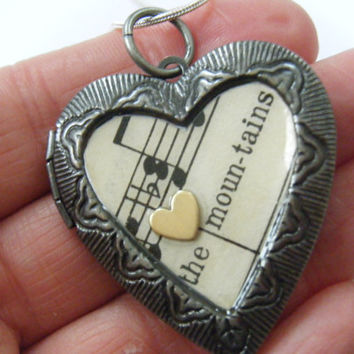 OOAK Vintage Silver Heart Locket Necklace Pendant Mountains Poetry Words Antique Music Lyrics Musical Song Recycled Repurposed Upcycled Art