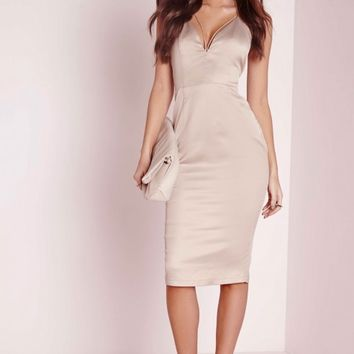 Missguided - Satin Midi Dress Champagne
