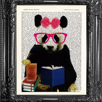Panda Tea Time Art-Cute Panda Gift-Office Wall Decor-Home Dorm Wall Decor-Funny Poster-Panda Poster-Gift Print-Dictionary Print-Page Art