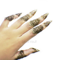10 pcs filigree finger tips and rings set brass