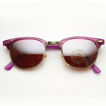 Colorful Retro Vintage Half Frame Horned Rim Sunglasses 7203
