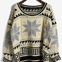 Grey Long Sleeve Snowflake Tribal Print Sweater - Sheinside.com