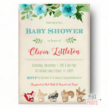 Woodland Baby Shower Invitation - Forest Friends Baby Shower Invite Boy - Woodland Baby Shower Invite - Baby Boy Shower Invitation Printable
