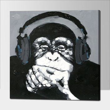 Hand Painted Listen Music Gorilla Canvas Oil Paintings Black White Wall Art Animal Oil Painting for Home Decor Monkey Painting