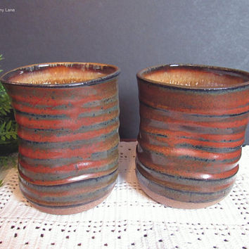 Vintage Studio Pottery Cups, Hand Thrown Pottery, Wonky Shaped Cups, No Handle, Handmade Pottery