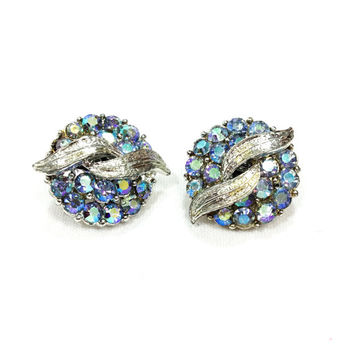 Blue Aurora Borealis Earrings, Coro Rhinestone Button Earrings, Rhodium Plated, Wedding Jewelry, 1950s, Vintage Jewelry