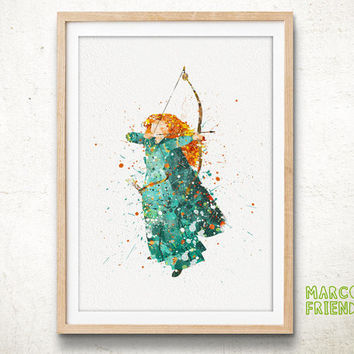 Merida, Disney - Watercolor, Art Print, Home Wall decor, Watercolor Print, Disney Princess Poster