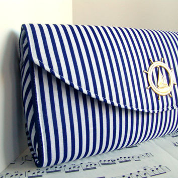 Nautical navy blue clutch purse bridesmaid bag by toriska on Etsy