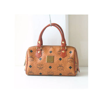 Authentic Vintage MCM Visetos Cognac Monogram mini tote handbag purse RARE