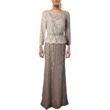 Adrianna Papell Womens Lace Colorblock Mother of the Bride Dress