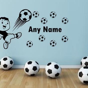 Soccer Football Any Name Vinyl Wall Sticker Personalized Name Art Decal Wall stickers for Kids room baby decals mural J619